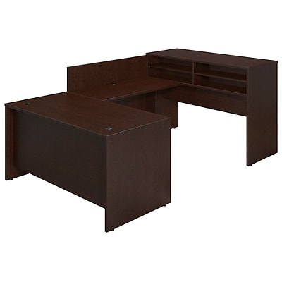 Bush Business Westfield 60Wx30D U-Station w Standing Height Desk Shell, Mocha Cherry, Installed