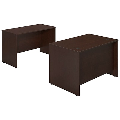 Bush Business Westfield Elite 48W x 30D Desk Shell with Credenza, Mocha Cherry, Installed