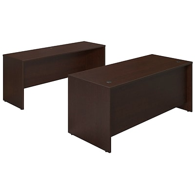Bush Business Westfield Elite 72W x 30D Desk Shell with Credenza, Mocha Cherry, Installed