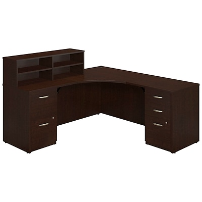 Bush Business Westfield Elite 42Wx42D Corner Desk with Returns and Storage, Mocha Cherry, Installed