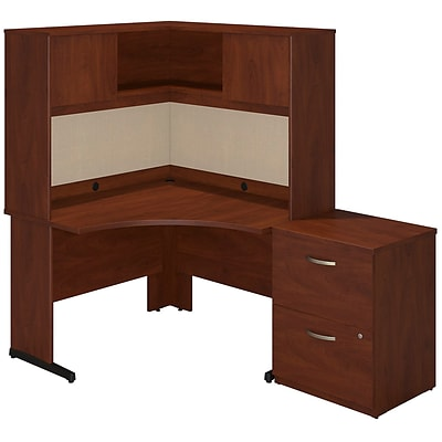 Bush Business Westfield Elite 48W x 48D C Leg Corner Desk with Storage, Hansen Cherry