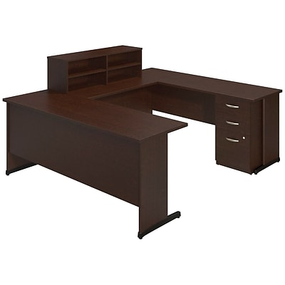 Bush Business Westfield Elite 72W x 24D C Leg U Station with Storage, Mocha Cherry, Installed