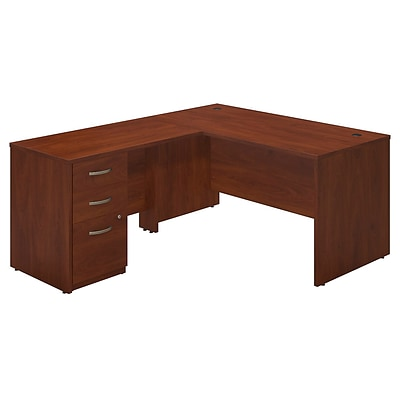 Bush Business Westfield Elite 60W x 30D L-Desk with 3 Drawer Pedestal, Hansen Cherry, Installed