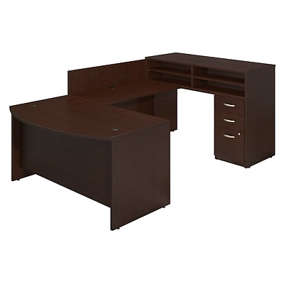 Bush Business Westfield 60Wx36D Bow Front U-Station w/Standing Height Desk & Storage, Mocha Cherry