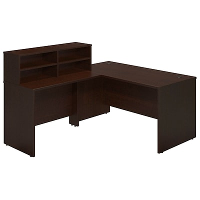Bush Business Westfield Elite 60W x 30D Reception L Desk, Mocha Cherry