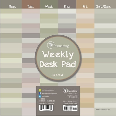 TF Publishing Shades Weekly Desk Pad Calendar; 8.5 x 8.5