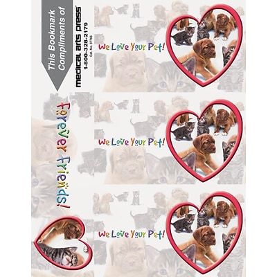 Photo Image 3-Up Laser Postcards with Bookmark, We Love Your Pet
