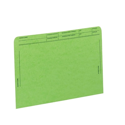 Medical Arts Press® File Pockets with Printed Patient Grid, Letter, Green, 50/Bx (59547GN)