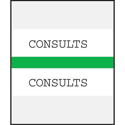 Medical Arts Press® Standard Preprinted Chart Divider Tabs; Consults, Green