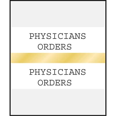 Medical Arts Press® Standard Preprinted Chart Divider Tabs; Physicians Orders, Gold