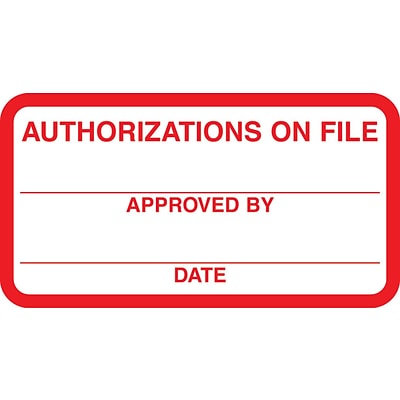 Medical Arts Press® Patient Record Labels, Authorizations On File, Red and White,1-3/4x3-1/4, 500 Labels