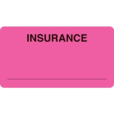 Insurance Chart File Medical Labels, Insurance, Fluorescent Pink, 1-3/4x3-1/4, 500 Labels