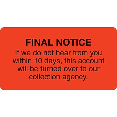 Collection & Notice Collection Labels, Final Notice-10 days, Fl Red, 1-3/4x3-1/4, 500 Labels