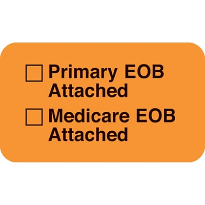 Medical Arts Press® Insurance Carrier Collection Labels, EOB Attached, Fluorescent Orange, 7/8x1-1/2, 500 Labels
