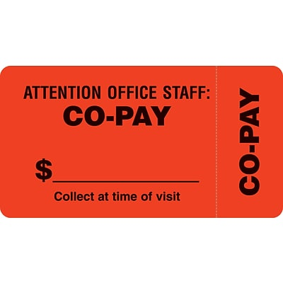 File Folder Insurance Labels, Co-Pay, Fluorescent Red, 1-3/4x3-1/4, 500 Labels