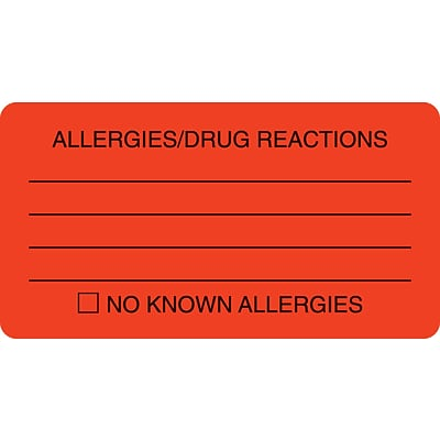 Allergy Warning Medical Labels, Allergies/Drug Reactions, Fluorescent Red, 1-3/4x3-1/4, 500 Labels