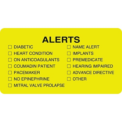 Medical Arts Press® Chart Alert Medical Labels, Alerts, Chartreuse, 1-3/4x3-1/4, 500 Labels