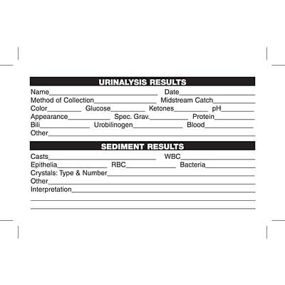 Medical Laboratory Labels, Urinalysis Results, White, 2-1/2x4, 100 Labels