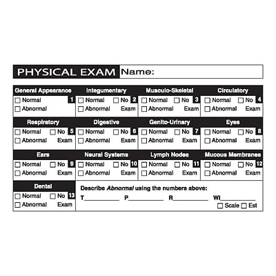 Veterinary Examination Medical Labels, Physical Exam, White, 2-1/2x4, 100 Labels