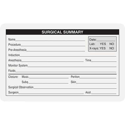 Veterinary Surgical Summary & Blood Analysis Labels, Surgical Summary, White, 2 1/2x4, 100 Labels