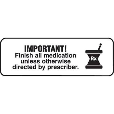 Medication Instruction Labels Important Finish All Medication