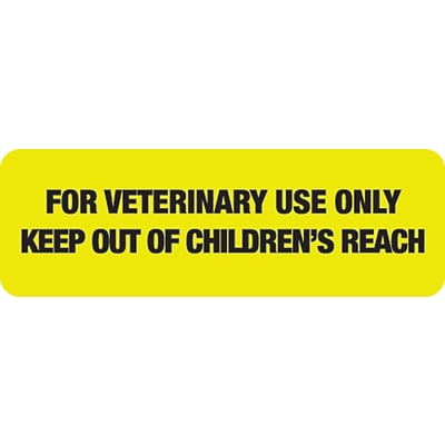 Veterinary Medication Labels, For Veterinary Use Only, Fl Chartreuse, 1/2x1-1/2, 500 Labels