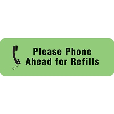 Medical Arts Press® Medication Instruction Labels, Phone Ahead for Refills, Fl Green, 1/2x1-1/2, 500 Labels