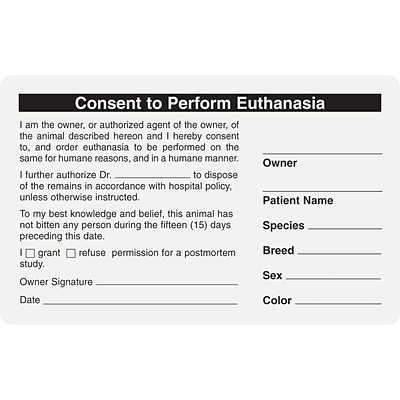 Veterinary Consent/Release Medical Labels, Consent/Euthanasia, White, 2-1/2x4, 100 Labels