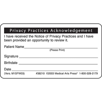 Patient Record Labels, Privacy Practices Acknowledgement, White, 1-3/4x3-1/4, 500 Labels