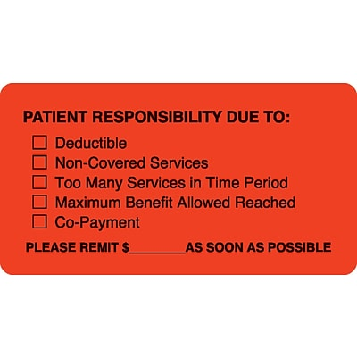 Medical Arts Press® Patient Insurance Labels, Patient Responsibility, Fluorescent Red, 1-3/4x3-1/4, 500 Labels