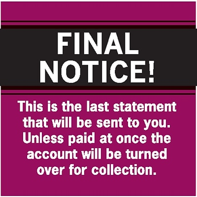 past due collection labels final notice last statement red 1
