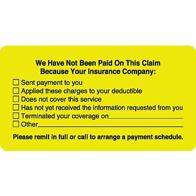 Medical Arts Press® Patient Insurance Labels, No Payment Checklist, Fl Chartreuse, 1-3/4x3-1/4, 500 Labels