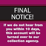Past Due Collection Pre-Printed Labels, Final Notice/10 Days, Red, 1-1/2x1-1/2, 500 Labels