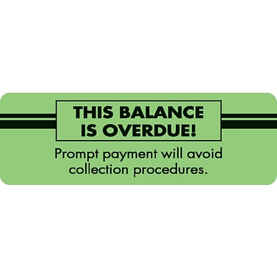Medical Arts Press® Past Due Collection Labels, This Balance Is Overdue!, Fluorescent Green, 1x3, 500 Labels