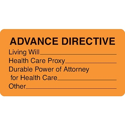 Chart Alert Medical Labels, Advance Directive, Fluorescent Orange, 1-3/4x3-1/4, 500 Labels