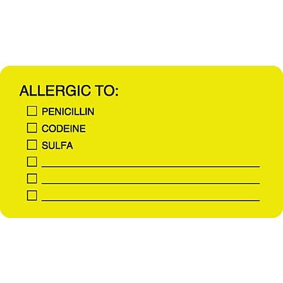 Allergy Warning Medical Labels, Allergic To:, Fluorescent Chartreuse, 1-3/4x3-1/4, 500 Labels