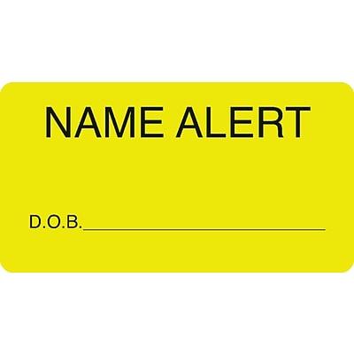 chart alert medical labels name alert fluorescent chartreuse 1 3