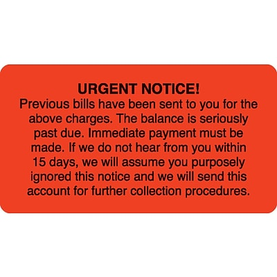 Past Due Collection Labels, Urgent Notice, Fluorescent Red, 1-3/4x3-1/4, 500 Labels