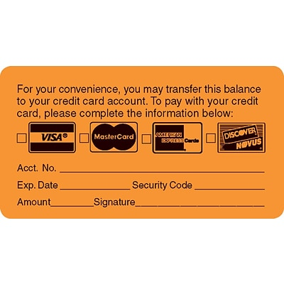 Reminder & Thank You Collection Labels, Transfer Balance, Fl Orange, 1-3/4x3-1/4, 500 Labels
