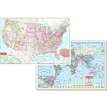 Universal Map Us & World Physical Map Set 50x32 (Set of 2)