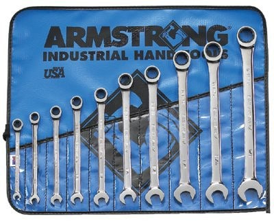 Armstrong Tools Fractional Geared Combination Wrench Set (Roll) 10 pc