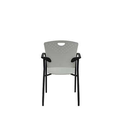 Eurotech STAQGLIDE-GRY Staq Plastic Task Chair, Fixed Arm, Gray