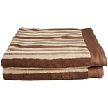 Simple Luxury Superior Stripes 100pct Cotton Bath Towel (Set of 2); Chocolate