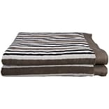 Simple Luxury Superior Stripes 100pct Cotton Bath Sheet (Set of 2); Charcoal