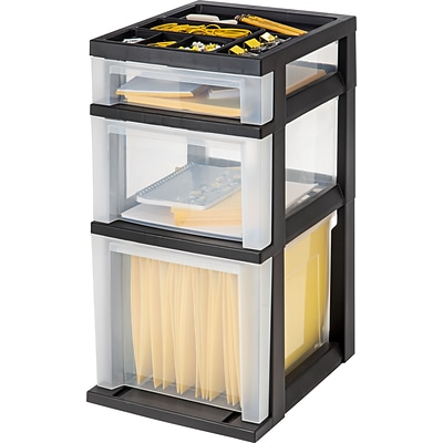 Iris® Rolling Cart With Plastic Organizer Top; 3 Drawer