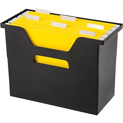 Iris® Medium Open Top Plastic File Box; Black