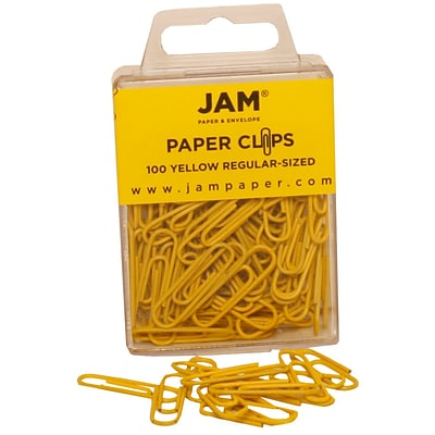 JAM Paper® Vinyl Colored Standard Paper Clips, Small, Yellow, 100/Pack (2183756)