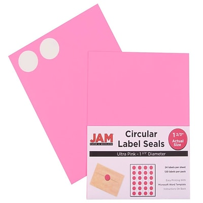 JAM Paper® Round Circle Label Sticker Seals, 1 2/3 inch diameter, Ultra Pink, 120/pack (147627062)