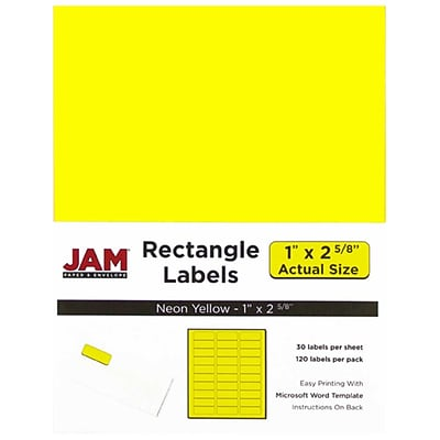 JAM Paper® Mailing Address Labels, 1 x 2 5/8, Neon Yellow, 120/pack (354328008)