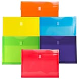 JAM Paper® Plastic Envelopes with Hook & Loop Closure, 1 Exp, Letter Booklet, 9.75 x 13, Assorted
